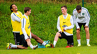 30/06/14<br /> CELTIC TRAINING<br /> AUSTRIA<br /> Celtic's (L/R) Virgil Van Dijk, Stefan Johansen, Liam Henderson and Adam Matthews in training.