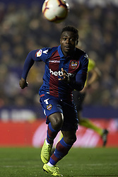 February 24, 2019 - Valencia, Valencia, Spain - Moses Simon of Levante in action during the week 25 of La Liga match between Levante UD and Real Madrid at Ciutat de Velencia Stadium in Valencia, Spain on February 24, 2019. (Credit Image: © Jose Breton/NurPhoto via ZUMA Press)