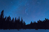 A meteor seems to pierce through the star Betelgeuse as seen from a cold and snowy meadow in the Bighorn Mountains.