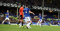 Football - 2017 / 2018 Europa League - Third Qualifying Round, First Leg: Everton vs. MFK Ruzomberok<br /> <br /> Leighton Baines of Everton scores the winning goal at Goodison Park.<br /> <br /> COLORSPORT/LYNNE CAMERON