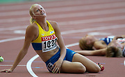 Heptathlon winner Carolina Kluft of Sweden after the final event, the 800 meters,in the IAAF World Championships in Athletics at Stade de France on Sunday, Aug, 24, 2003.