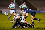 Newcastle Falcons Micky Young passes the ball during a Gallagher Premiership Round 12 Rugby Union match, Friday, Mar 05, 2021, in Eccles, United Kingdom. (Steve Flynn/Image of Sport)