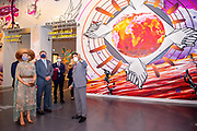 BERLIJN, 07-07-2021,  Humboldt Forum<br /> <br /> Koning Willem Alexander en Koningin Maxima tijdens het Staatsbezoek aan Duitsland. Het bezoek aan Berlijn vormt de afronding van een reeks deelstaatbezoeken die het Koninklijk Paar sinds 2013 aan Duitsland heeft gebracht. <br /> <br /> King Willem Alexander and Queen Maxima during the state visit to Germany. The visit to Berlin concludes a series of state visits that the Royal Couple has made to Germany since 2013. FOTO: Brunopress/Patrick van Emst<br /> <br /> Op de foto / On the photo: Koningspaar bezoekt Tentoonstelling BERLIN GLOBAL in Humboldt Forum /// Royal couple visits Exhibition BERLIN GLOBAL in Humboldt Forum