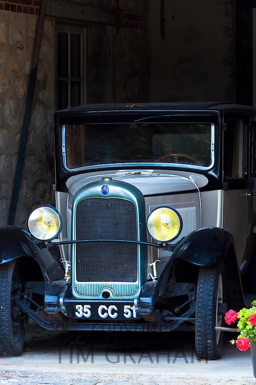 Citroen 1926 vintage car at Champagne Vigneron Bernard Launois along the Champagne Tourist Route, Champagne-Ardenne, France