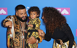 August 21, 2018 - New York City, New York, USA - 8/20/18.DJ Khaled, Asahd Khaled and Nicole Tuck at the 2018 MTV Video Music Awards at Radio City Music Hall in New York City. (Credit Image: © Starmax/Newscom via ZUMA Press)