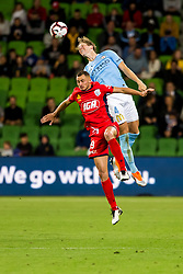 February 9, 2019 - Melbourne, VIC, U.S. - MELBOURNE, AUSTRALIA - February 09 : Harrison Delbridge of Melbourne City  heads the ball over Jordy Thomassen of Adelaide United during round 18 of the Hyundai A-League Series between Melbourne City and Adelaide United on February 9 2019, at AAMI Park in Melbourne, Australia. (Photo by Jason Heidrich/Icon Sportswire) (Credit Image: © Jason Heidrich/Icon SMI via ZUMA Press)