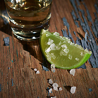 Salted lime and Tequila .