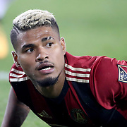 HARRISON, NEW JERSEY- OCTOBER 15: Josef Martinez #7 of Atlanta United reacts after just failing to connect to a low cross during the New York Red Bulls Vs Atlanta United FC, MLS regular season match at Red Bull Arena, Harrison, New Jersey on October 15, 2017 in Harrison, New Jersey. (Photo by Tim Clayton/Corbis via Getty Images)