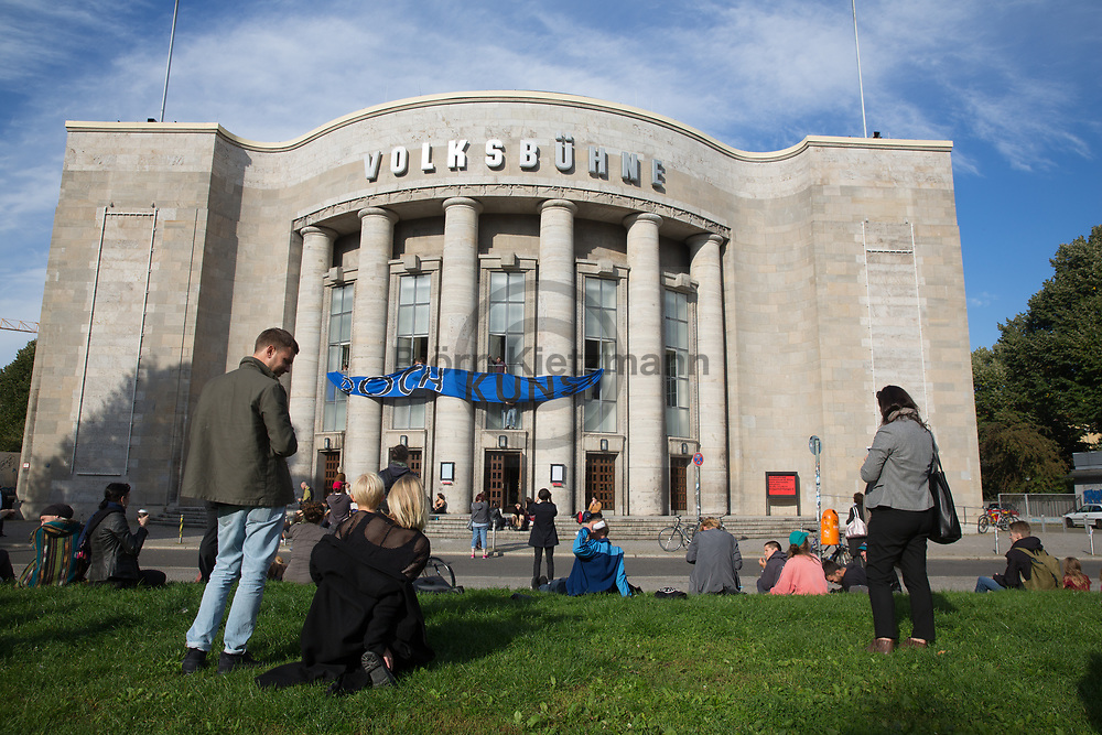Berlin, Germany - 22.09.2017<br /> <br /> Artist occupy the Volksbuehne Theater at Rosa Luxemburg Platz in Berlin.<br /> <br /> Kuenstler und Aktivisten besetzen die Volksbuehne am Rosa Luxemburg Platz in Berlin.<br /> <br /> Photo: Bjoern Kietzmann