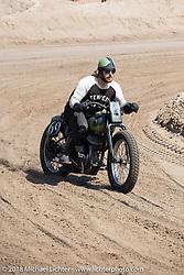 Daniel DeSoucey on his 1945 Harley-Davidson WLA Flathead racer at the Bradford Beach Brawl, a TROG style beach racing event, during the Harley-Davidson 115th Anniversary Celebration event. Milwaukee, WI. USA. Friday August 31, 2018. Photography ©2018 Michael Lichter.