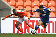 Blackpool forward Keshi Anderson (8) and Ipswich Town forward Keanan Bennetts (17) battle for possession  during the EFL Sky Bet League 1 match between Blackpool and Ipswich Town at Bloomfield Road, Blackpool, England on 10 October 2020.