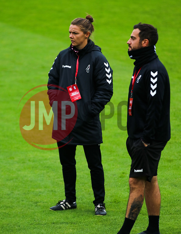 Loren Dykes MBE looks on alongside assistant manager Marco Chiavetta - Mandatory by-line: Will Cooper/JMP - 18/10/2020 - FOOTBALL - Twerton Park - Bath, England - Bristol City Women v Birmingham City Women - Barclays FA Women's Super League