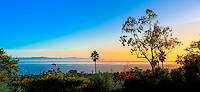 Panoramic view of the Pacific Ocean (with the Channel Islands in the background), Montecito (Santa Barbara), California USA.