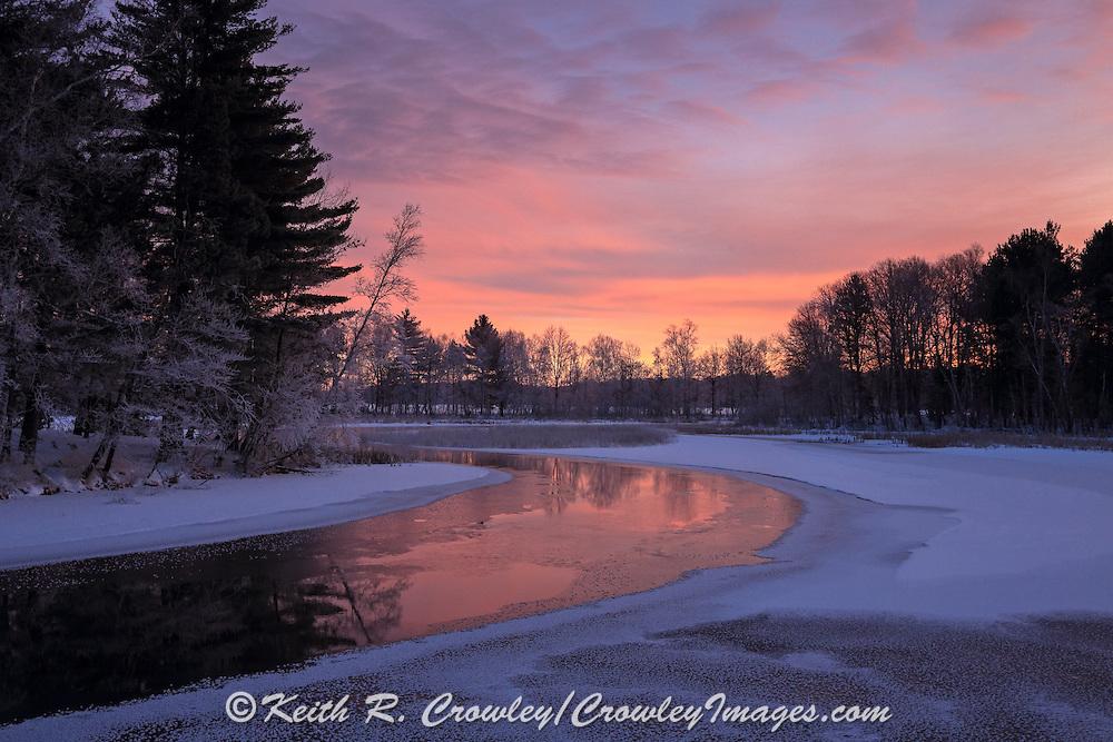 Scenic View of Winter River Sunrise