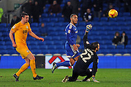 Cardiff City's Kenneth Zohore © chips Preston goal keeper Chris Maxwell to score his teams 2nd goal and make it 2-0.EFL Skybet championship match, Cardiff city v Preston North End at the Cardiff City stadium in Cardiff, South Wales on Tuesday 31st January 2017.<br /> pic by Carl Robertson, Andrew Orchard sports photography.