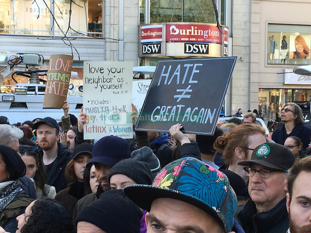 Thousands of protestors converge on Union Square in New York City to protest against President Elect Donald Trump.