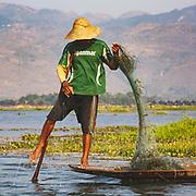 Leg-rowing fisherman, Lake Inle, Myanmar