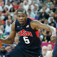 10 August 2012: USA Kevin Durant dribles during 109-80 Team USA victory over Team Argentina, during the men's basketball semi-finals, at the North Greenwich Arena, in London, Great Britain.