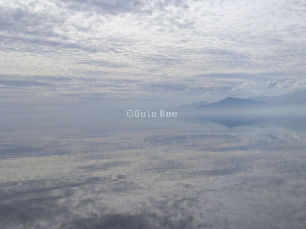 tranquil view of mountains and lake Salton Sea California USA