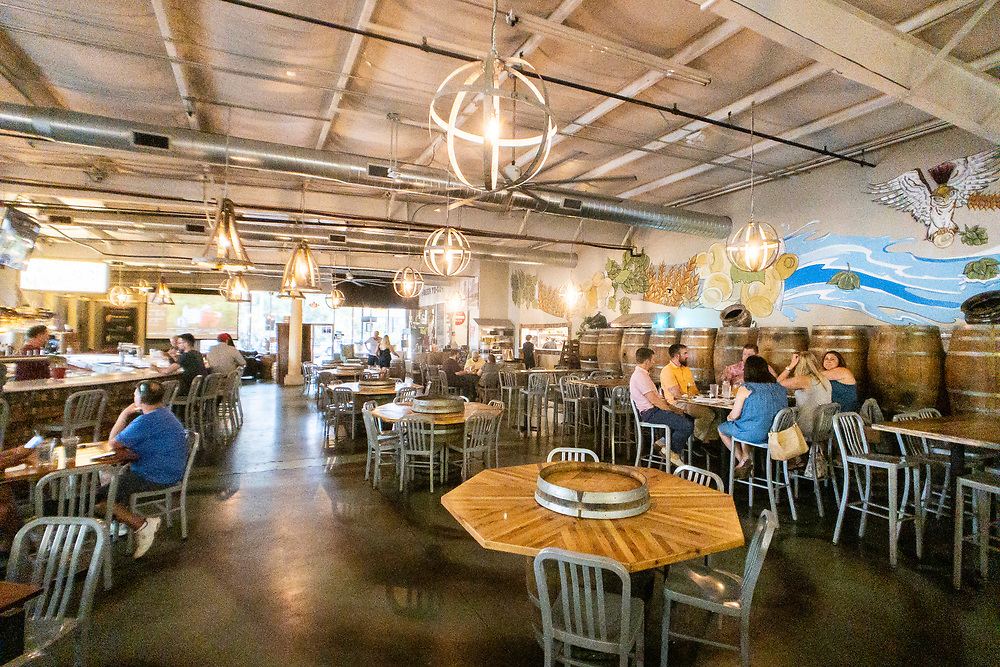 Indoor seating at Akademia Brewing Company in Athens, Georgia on Wednesday, July 14, 2021. Copyright 2021 Jason Barnette