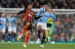 Manchester City's Gabriel Jesus (right) battles for the ball during the UEFA Champions League match at the Etihad Stadium, Manchester.