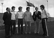 "Ireland Hockey Team.    (N65)..1981..15.03.1981..03.15.1981..15th March 1981..Prior to their forthcoming International against Poland, The Ireland team were kitted out in a full set of Addidas Gear by the ""Great Outdoors""camping shops.""Great Outdoors"" have outlets in Dublin, Cork and Galway...Image shows (L-R), Mr Chic Doyle, Director, Great Outdoors; Ian O'Keefe, Cork Harlequins; James Kirkwood,Queens University; Joey O'Meara, Ireland Coach; John O'Keefe, Managing Director, Great Outdoors and Tommy Allen, Monkstown."