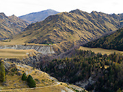 Looking across Skippers Canyon toward Stony Creek and historic gold mining areas, with the Richardson Mountains in the background, near Queenstown, Otago, New Zealand.