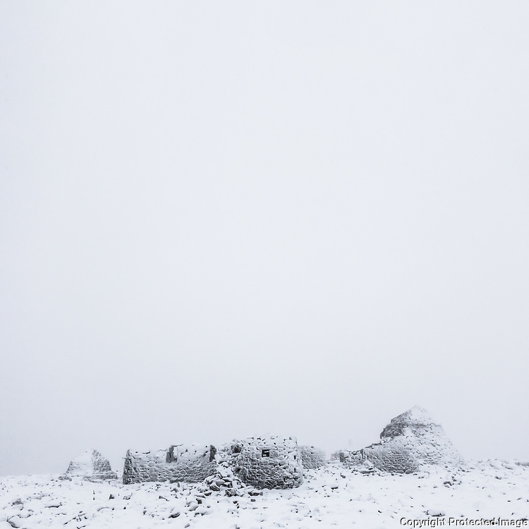 2.31pm Meteorological observatory ruins (manned from 1881 to 1904), Ben Nevis summit, Highland, Scotland.