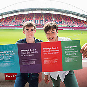31.05.2018.          <br /> Limerick and Clare Education Training Board launch Youth Work Plan 2018-2021 at Thomond Park Limerick with Pat Breen TD, Minister of State with special responsibility for Trade, Employment, Business, EU Digital Single Market and Data Protection, Clare. <br /> <br /> Pictured at the event were, Robert McDonnell and Jordan Cassells, Clare Youth Service. Picture: Alan Place