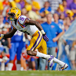 Oct 12, 2013; Baton Rouge, LA, USA; LSU Tigers defensive back Tre'Davious White (16) against the Florida Gators during the first half of a game at Tiger Stadium. Mandatory Credit: Derick E. Hingle-USA TODAY Sports