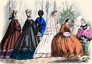 Colour drawing of Godey's women's Fashion for January 1864 from Godey's Lady's Book and Magazine, 1864 Philadelphia, Louis A. Godey, Sarah Josepha Hale,
