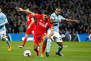 Emre Can of Liverpool (l) and Fernandinho of Manchester City battle for the ball. Capital One Cup Final, Liverpool v Manchester City at Wembley stadium in London, England on Sunday 28th Feb 2016. pic by Chris Stading, Andrew Orchard sports photography.