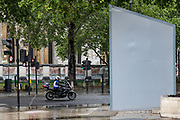 Monuments to Nelson Mandela and Mahatma Gandhi will stay hidden behind protective screens after far-right protesters in London threatened they will deface them. But, British authorities unboxed the Winston Churchill statue in Parliament Square in central London on Thursday, June 18, 2020, prior to a visit of the French President Emmanuel Macron to London. For his first foreign trip since lockdown, Emmanuel Macron will be in London to mark the 80th anniversary of de Gaulle's « appel de Londres », as well as cement Franco-UK ties at a strained time due to Brexit. (Photo/ Vudi Xhymshiti)