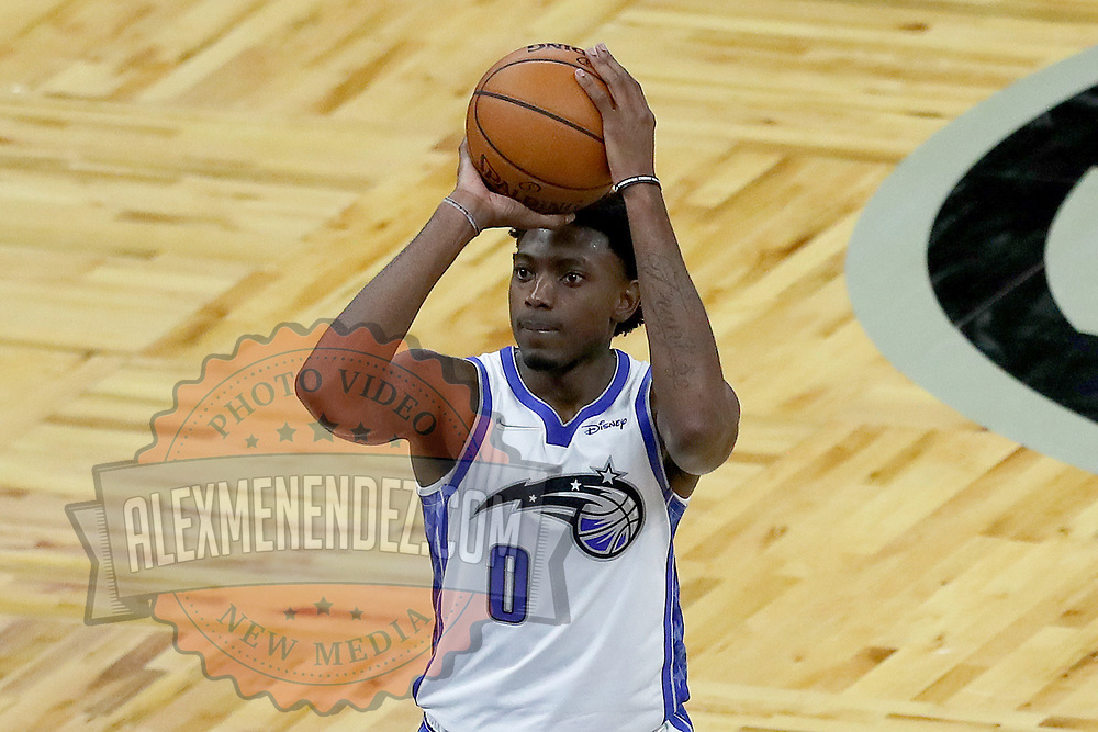 ORLANDO, FL - APRIL 12: Robert Franks #0 of the Orlando Magic attempts a free throw against the San Antonio Spurs at Amway Center on April 12, 2021 in Orlando, Florida. NOTE TO USER: User expressly acknowledges and agrees that, by downloading and or using this photograph, User is consenting to the terms and conditions of the Getty Images License Agreement. (Photo by Alex Menendez/Getty Images)*** Local Caption *** Robert Franks