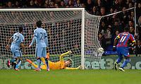 Crystal Palace's Jason Puncheon scores his sides second goal, beating Manchester City's Joe Hart<br /> <br /> Photographer Ashley Western/CameraSport<br /> <br /> Football - Barclays Premiership - Crystal Palace v Manchester City - Monday 6th April 2015 - Selhurst Park - London<br /> <br /> © CameraSport - 43 Linden Ave. Countesthorpe. Leicester. England. LE8 5PG - Tel: +44 (0) 116 277 4147 - admin@camerasport.com - www.camerasport.com