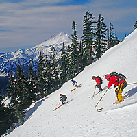 Skiers descend a run on Mount Baker Ski Area.  Mount Baker background.