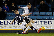 Shaun Hutchinson of Millwall (L) tackles David Brooks of Sheffield United (R). EFL Skybet championship match, Millwall v Sheffield Utd at The Den in London on Saturday 2nd December 2017.<br /> pic by Steffan Bowen, Andrew Orchard sports photography.