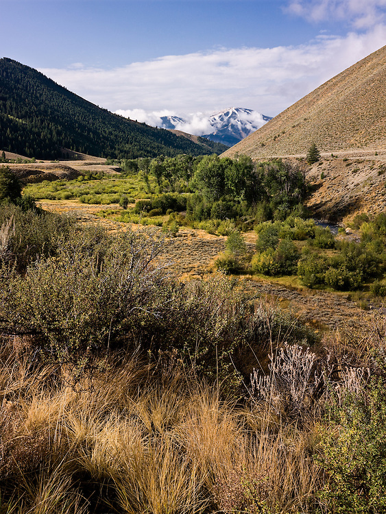 Open Edition Fine Art Photograph<br /> Summer tries to hang on in Sun Valley Idaho with Baldy Mountain ski hill showing snow half way up its runs in late September in Central Idaho as view from Trail Creek