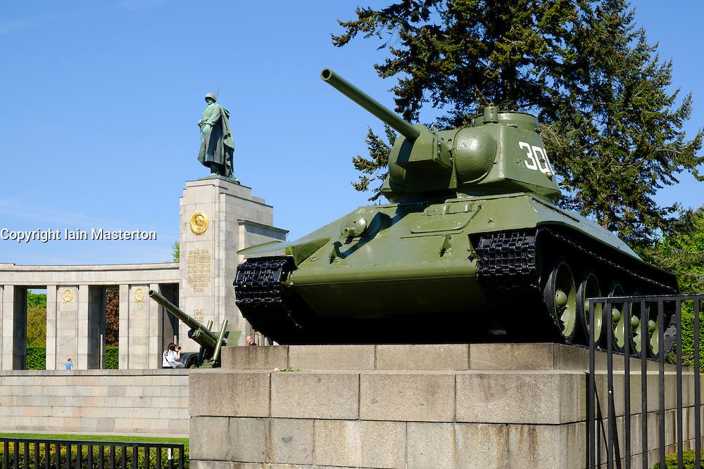 View of tank on display at Soviet War Memorial in Tiergarten Berlin Germany