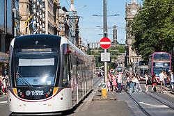 Modern tram  on Princes Street in Edinburgh Scotland united Kingdom