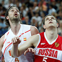 10 August 2012: Spain Pau Gasol vies with Russia Timofey Mozgov during 67-59 Team Spain victory over Team Russia, during the men's basketball semi-finals, at the North Greenwich Arena, in London, Great Britain.