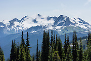 Mount Iago, Mount Fitzsimmons (2610 m), Overlord Mountain, Overlord Glacier, and Fissile Peak (left to right) rise above the High Note Trail on Whistler Mountain in the Fitzsimmons Range, Coast Mountains, British Columbia, Canada. Global warming/climate change: As of 2005, Overlord Glacier had retreated 880 meters from its terminus of year 1929. From the early 1700s to 2005, half (51%) of the glacial ice cover of Garibaldi Provincial Park melted away (Koch et al. 2008, web.unbc.ca). The record of 1900s glacier fluctuations in Garibaldi Park is similar to that in southern Europe, South America, and New Zealand, suggesting a common, global climatic cause.