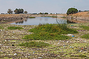 Accumulated trash next to the headworks for the Rio Hondo Spreading Grounds situated on the Rio Hondo. Water Replenishment District – WRD, Pico Rivera, Los Angeles County