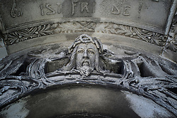 Sculpture tomb cemetery Vienna Christ detail face