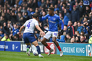Portsmouth Midfielder, Jamal Lowe (10) takes on Wycombe Wanderers Midfielder, Dominic Gape (4) during the EFL Sky Bet League 1 match between Portsmouth and Wycombe Wanderers at Fratton Park, Portsmouth, England on 22 September 2018.