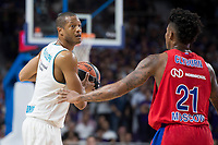 Real Madrid Anthony Randolph and CSKA Moscu Will Clyburn during Turkish Airlines Euroleague match between Real Madrid and CSKA Moscu at Wizink Center in Madrid, Spain. October 19, 2017. (ALTERPHOTOS/Borja B.Hojas)