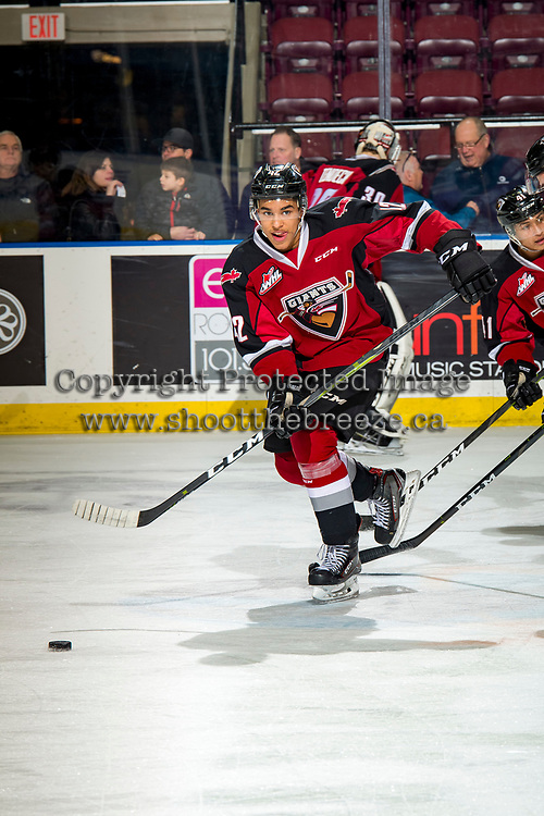 KELOWNA, BC - JANUARY 26: Justin Sourdif #42 of the Vancouver Giants skates passes the puck against the Kelowna Rockets  at Prospera Place on January 26, 2019 in Kelowna, Canada. (Photo by Marissa Baecker/Getty Images)
