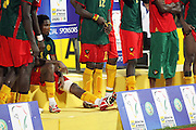 Cameroon's Samuel Eto'o sits among his teammates after his team lost against Egypt during the Africa Cup of Nations final in Accra, Ghana on February 10, 2008.