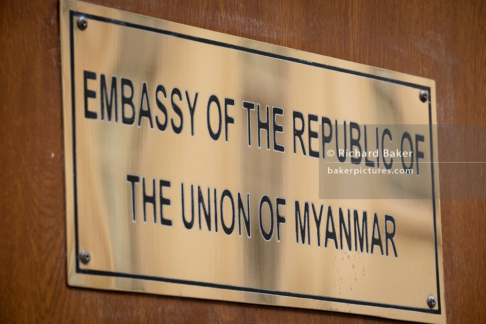 The nameplate of Myanmar's London embassy, on 8th April 2021, in London, England. The democratically-elected government in Myanmar was overthrown by a military-led coup in February.