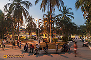 Dusk at the plaza of downtown Sayulita, Mexico